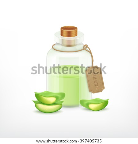 Aloe with essential oil. Health vector icon. EPS10