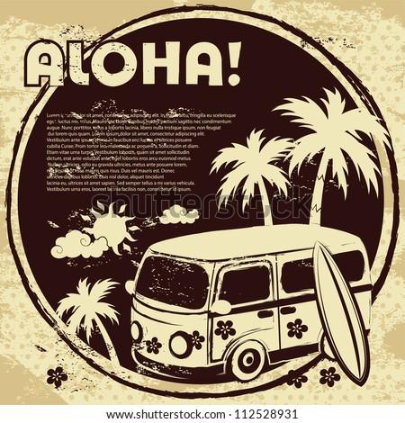 Aloha bus background - stock vector