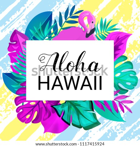 Aloha hawaii greeting banner tropical palm stock vector 1117415924 aloha hawaii greeting banner tropical palm leaves and pink flamingo on hand drawn brush background m4hsunfo