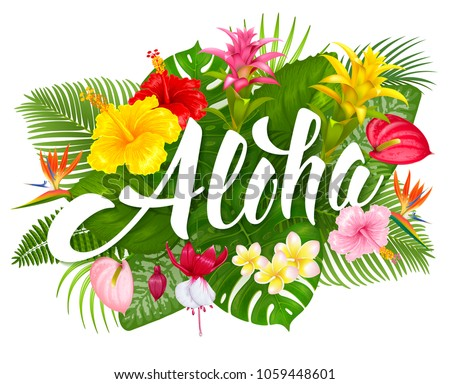 Aloha hawaii hand drawn lettering tropical stock vector 1059448601 aloha hawaii hand drawn lettering and tropical plants leaves and flowers hawaiian language greeting m4hsunfo