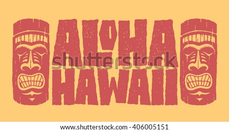 Aloha Hawaii. Hand lettering with tiki mask. typography, t-shirt design, vector illustration.