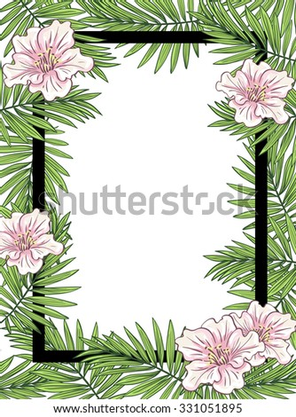 Aloha Hawaii illustration, palm leaves with flowers and black frame on the white background - stock vector