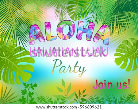 Aloha hawaiian party template invitation stock vector 596609621 aloha hawaiian party template invitation stopboris Gallery