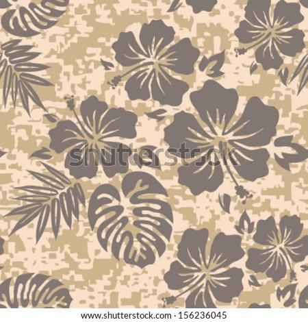 Aloha Hawaiian Shirt Seamless Background Pattern - stock vector