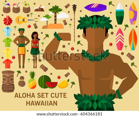 Aloha Set Cute Hawaiian Concept Background Flat Icons