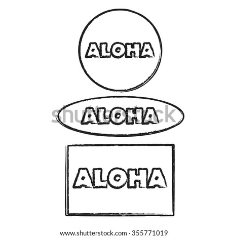Aloha set of digital stamps: round, rectangular, ellipse shapes. Graphic design element. Vector image