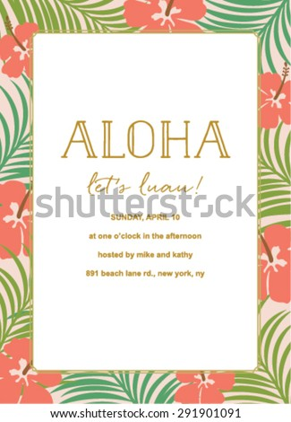 Aloha summer tropical invitation with flower and palm design - stock vector