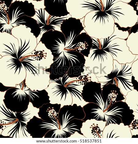 Aloha typography black white hibiscus floral stock vector 518537851 aloha typography with black and white hibiscus floral illustration for t shirt print mightylinksfo Image collections