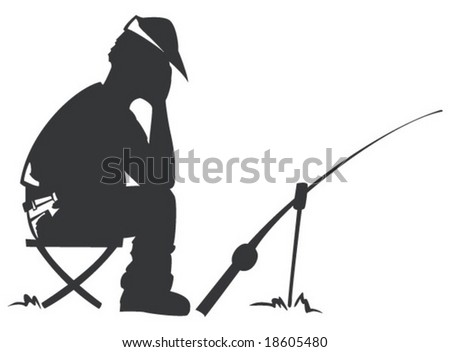 Alone angler sitting and fishing
