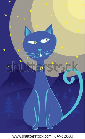 alone blue cartoon cat at night with moon stars mountain and trees - stock vector