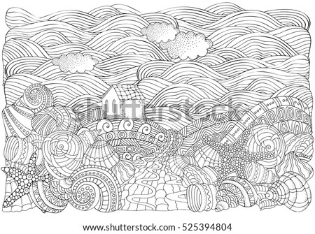 Alone House Ss Seascape Coloring Book Stock Vector (2018 ... on house sketch, house drawing, house letters book, house coloring worksheet, house coloring paper,