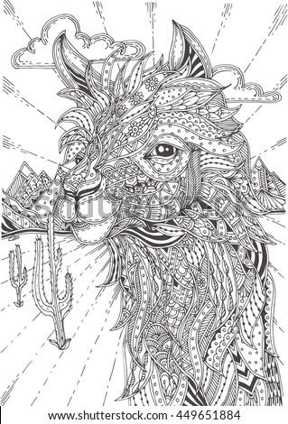 alpaca nature handdrawn alpaca ethnic doodle stock vector