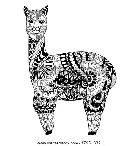 Alpaca Zentangle Design For Coloring Book Adult Logo T Shirt And So