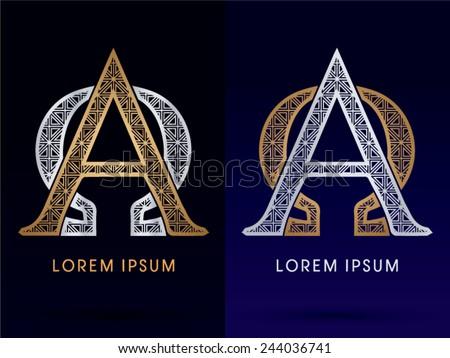 Alpha Omega Sign Luxury Font Gold Diamond Stock Vector 244036741