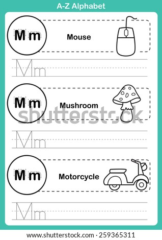 Alphabet a-z exercise with cartoon vocabulary for coloring book illustration, vector - stock vector