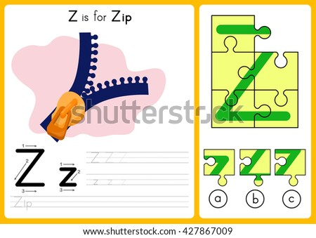 Alphabet A-Z Tracing and puzzle Worksheet,  Exercises for kids - illustration and vector - A4 paper ready to print - stock vector