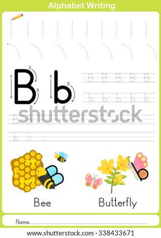 Alphabet A-Z Tracing Worksheet,  Exercises for kids -  illustration and vector outline - A4 paper ready to print - stock vector