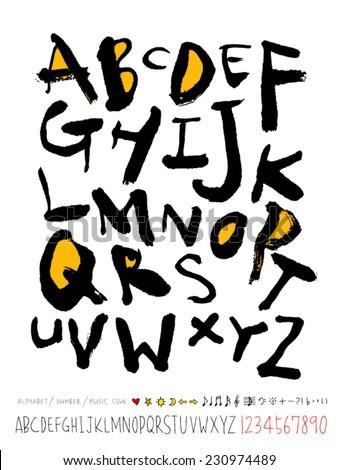 alphabet and numbers - hand drawn in vector   / Handwritten alphabet  - stock vector