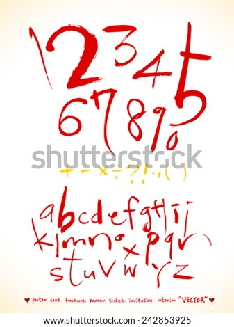 alphabet and numbers - hand drawn in vector / Red Version - stock vector