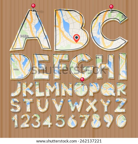 Alphabet and numbers, paper craft design, cut out by scissors from map. Vector illustration.  - stock vector