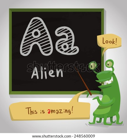 Alphabet Animal, Alien, vector - stock vector