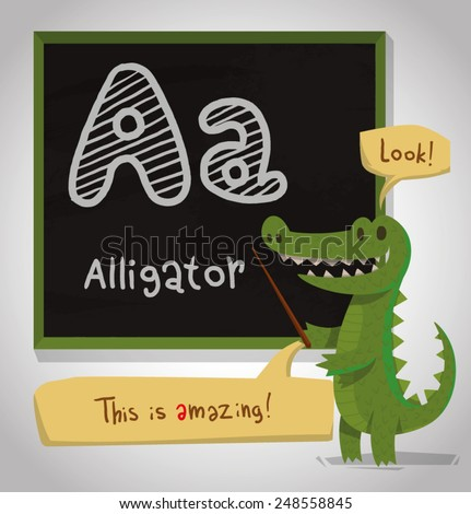 Alphabet Animal, Alligator, vector - stock vector