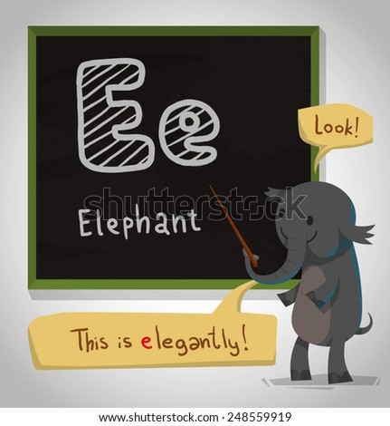 Alphabet Animal, Elephant, vector - stock vector