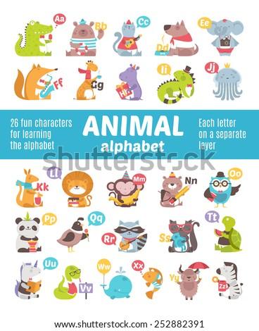 Alphabet Animals - stock vector
