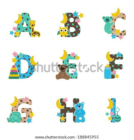 alphabet baby from A to I - vector illustration - stock vector