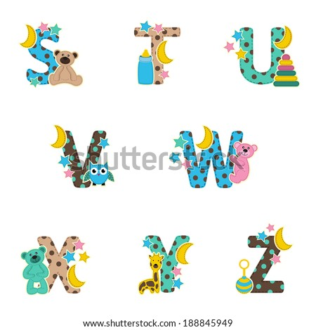 alphabet baby from S to Z - vector illustration - stock vector