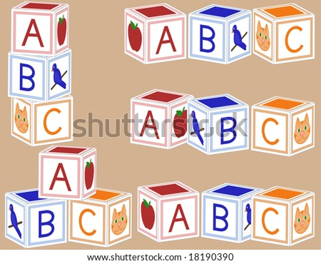 Alphabet blocks arranged in various configurations. - stock vector