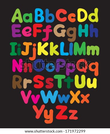 Alphabet bubble colored hand drawing in black background - stock vector