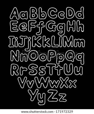 Alphabet bubble contour drawn hands - stock vector