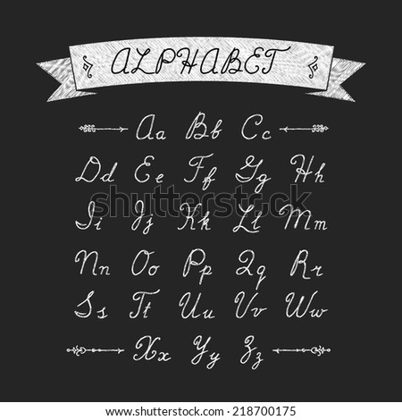 Alphabet calligraphy hand-drawn on black background. Chalked alphabet. Uppercase and lowercase letters. Hand written English alphabet letters. Ribbon with the inscription and decorative elements - stock vector