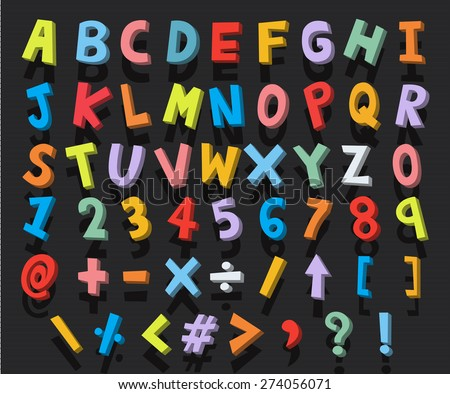 alphabet cartoon 3d vector - stock vector