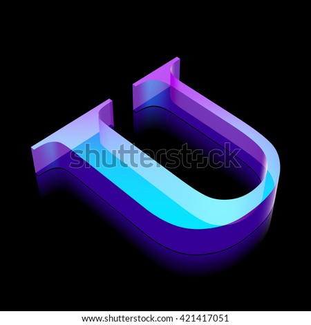 Alphabet collection: 3d neon glowing character U made of glass with reflection on Black background, EPS 10 vector illustration. - stock vector