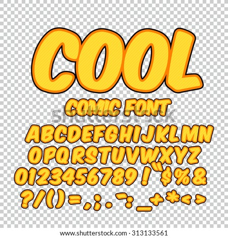 Alphabet collection set. Comic pop art style. Gold yellow color version. Letters, numbers and figures for kids' illustrations, websites, comics, banners. - stock vector