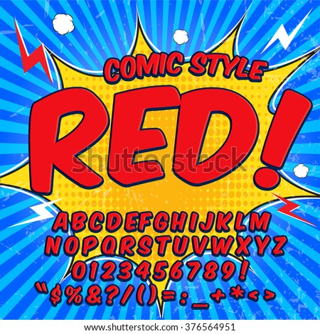 Alphabet collection set. Comic pop art style. Light red and blue color version. Letters, numbers and figures for kids' illustrations, websites, comics, banners. - stock vector