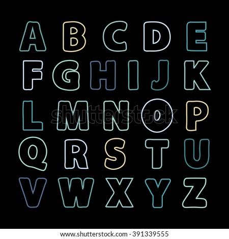 Alphabet color line .Alphabet vector .Vector alphabet.Vector Alphabet isolated.Vector Alphabet flat style.Vector Color Alphabet.Vector font isolated on black background .Vector Type.