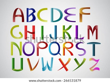 Alphabet colorful font style