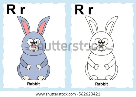 Alphabet Coloring Book Page With Outline Clip Art To Color Letter R Cartoon Rabbit