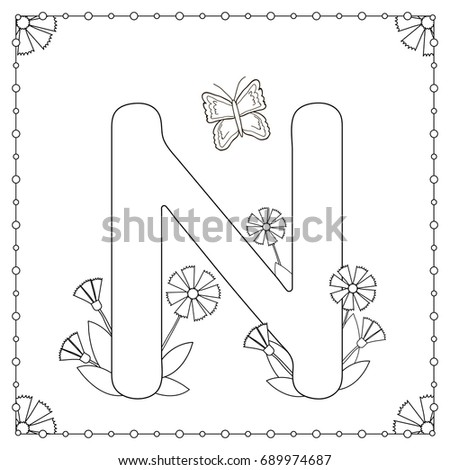 Alphabet Coloring Page Capital Letter N With Flowers Leaves And Butterfly