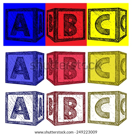 Alphabet cubes with A,B,C letters. Doodle style - stock vector