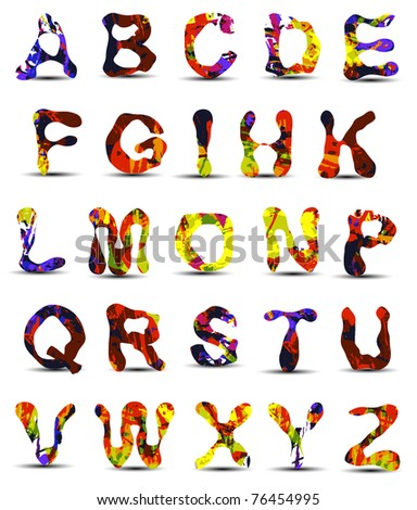 Alphabet design colorful - stock vector