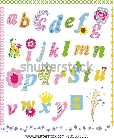 Alphabet design in a colorful style. - stock vector