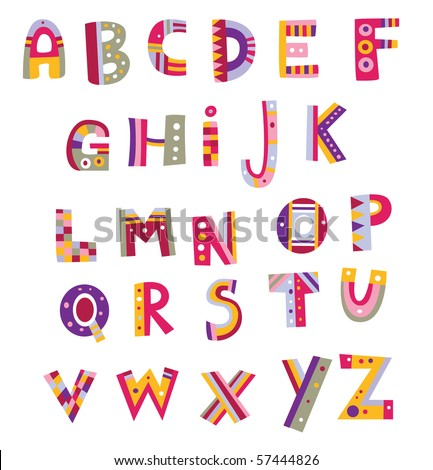 Alphabet design in a colorful style. Assorted numbers are available in my portfolio. - stock vector