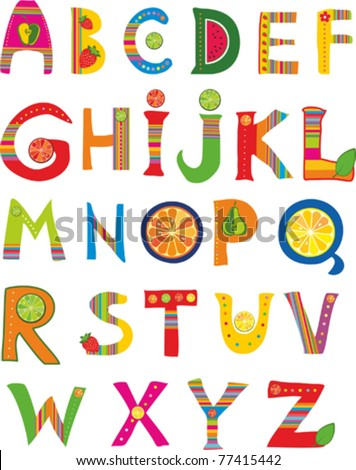 Alphabet design in a colorful style. isolated on White background. Vector illustration