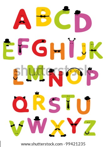 Alphabet design in a joyful cartoon style. Vector illustration