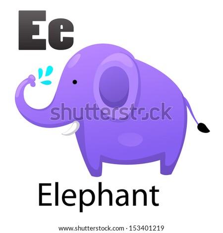 Alphabet E with elephant  - stock vector