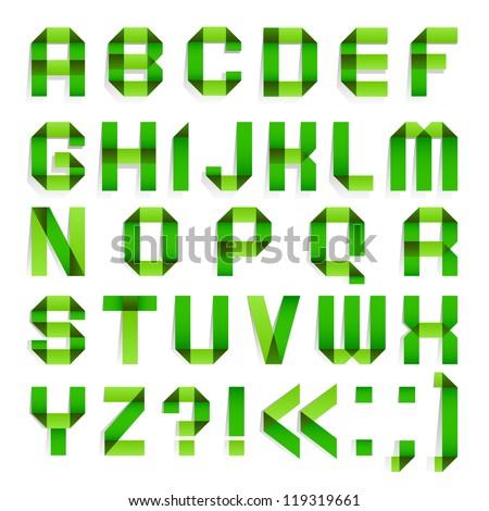 Alphabet folded of paper - Green letters.  Roman alphabet (A, B, C, D, E, F, G, H, I, J, K, L, M, N, O, P, Q, R, S, T, U, V, W, X, Y, Z). - stock vector